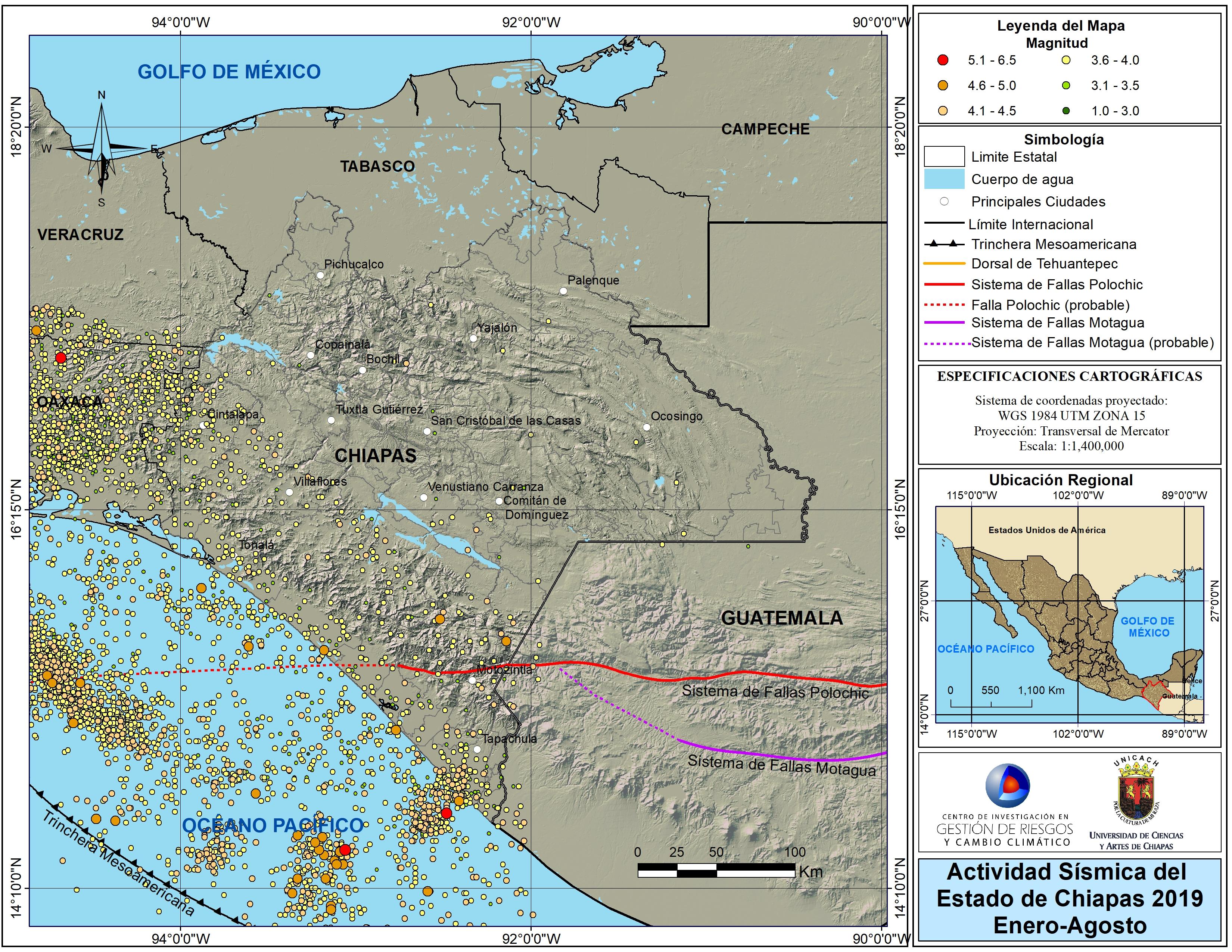 Actividad simica en Chiapas 2019